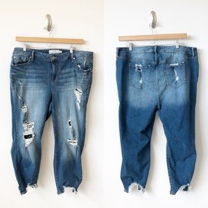 Torrid Girlfriend Jeans Distressed Ripped Blue